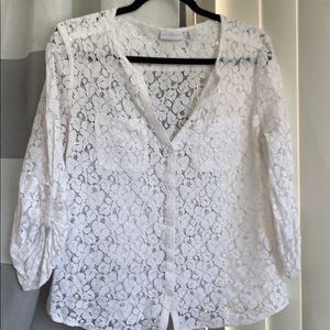 New York & company, white lace blouse button up